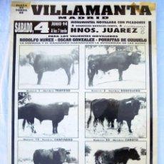 Carteles Toros: CARTEL TOROS EN VILLAMANTA - JUNIO DE 1994 - RODOLFO NÚÑEZ, ÓSCAR GONZÁLEZ Y PORRITAS DE GUIJUELO. Lote 153607906