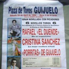 Carteles Toros: CARTEL TOROS EN GUIJUELO - ABRIL DE 1994 - NOVILLADA - EL DUENDE, CRISTINA SÁNCHEZ, PORRITAS. Lote 153608158