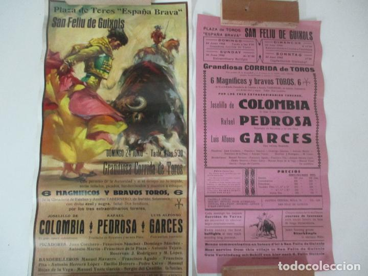 2 CARTELES DE TOROS - SAN FELIU DE GUIXOLS - CARTEL DE TIENDA - TOREROS - AÑO 1962 (Coleccionismo - Carteles Gran Formato - Carteles Toros)