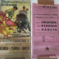 Carteles Toros: 2 CARTELES DE TOROS - SAN FELIU DE GUIXOLS - CARTEL DE TIENDA - TOREROS - AÑO 1962. Lote 153933782