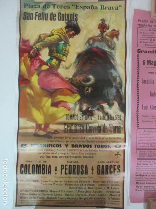 Carteles Toros: 2 Carteles de Toros - San Feliu de Guixols - Cartel de Tienda - Toreros - Año 1962 - Foto 2 - 153933782