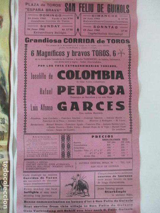 Carteles Toros: 2 Carteles de Toros - San Feliu de Guixols - Cartel de Tienda - Toreros - Año 1962 - Foto 5 - 153933782