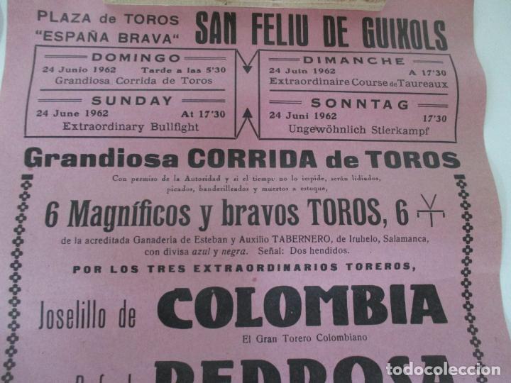 Carteles Toros: 2 Carteles de Toros - San Feliu de Guixols - Cartel de Tienda - Toreros - Año 1962 - Foto 6 - 153933782
