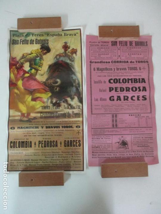 Carteles Toros: 2 Carteles de Toros - San Feliu de Guixols - Cartel de Tienda - Toreros - Año 1962 - Foto 9 - 153933782