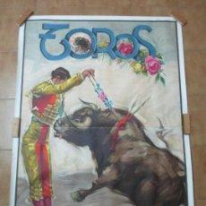 Carteles Toros: POSTER, GRAN CARTEL DE TOROS - LITOGRAFÍA ORIGINAL DE ÉPOCA - 2 PIEZAS - AUTOR, J. CROS ESTREMS. Lote 153935958