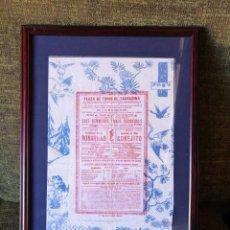 Carteles Toros: CARTEL PLAZA DE TOROS DE TARRAGONA 1896 ENMARCADO. Lote 154034590