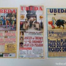Carteles Toros: LOTE DE 3 CARTELES DE TOROS DE ÚBEDA, 33X16CM. Lote 154555546
