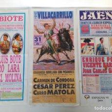 Carteles Toros: LOTE DE 3 CARTELES DE TOROS, 21X45CM. Lote 154555634