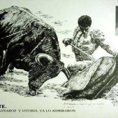 Carteles Toros: LAMINA. ELOY MORALES. SU ARTE, MADRID, VINAROZ Y VITORIA, YA LO ADMIRARON. 1989.. Lote 154861598