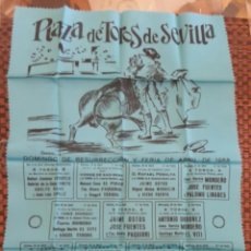 Carteles Toros: CARTEL DE TOROS EN TELA FERIA DE ABRIL 1965. Lote 156375558