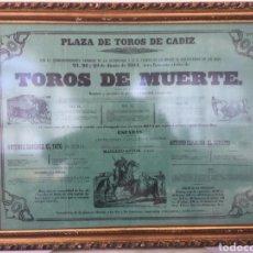 Affissi Tauromachia: ANTIGUO CARTEL TOROS DE MUERTE PLAZA DE CADIZ 1864. Lote 156487221
