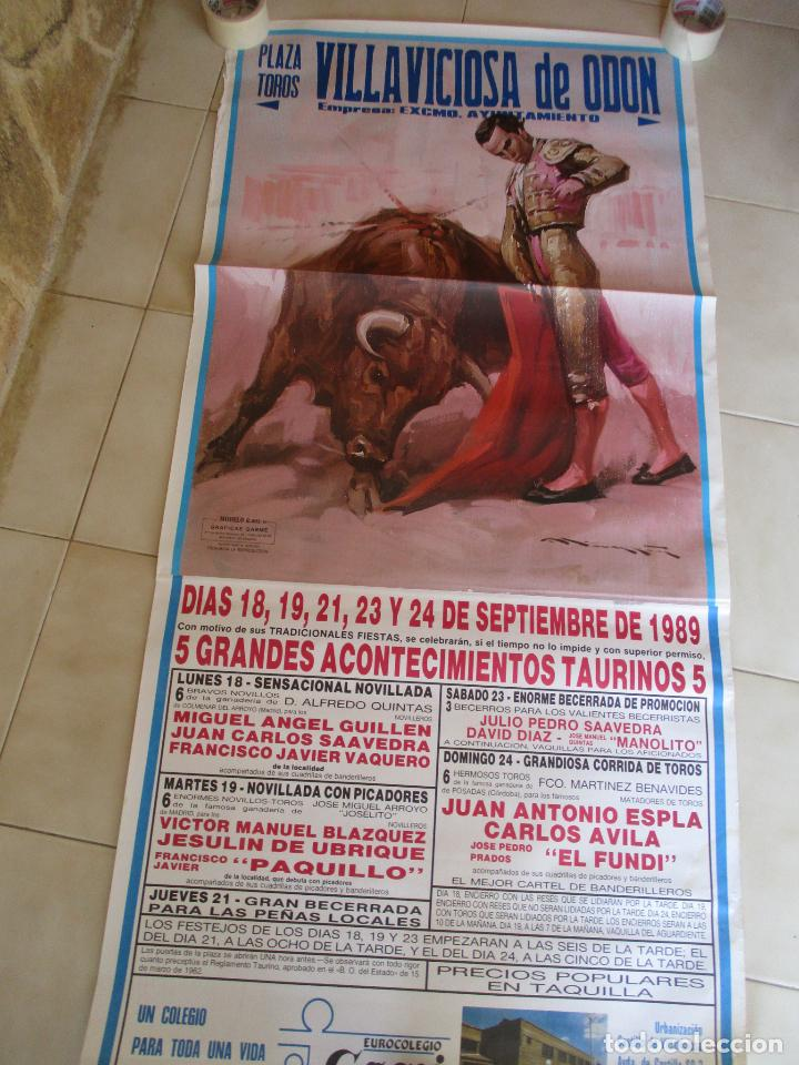 CARTEL; PLAZA TOROS VILLAVICIOSA DE ODON- SEPTIEMBRE DE 1989-MIDE 149 X 69 (Coleccionismo - Carteles Gran Formato - Carteles Toros)