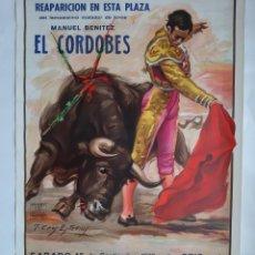 Carteles Toros: CARTEL PLAZA TOROS VALENCIA 1979, REAPARICION DEL CORDOBES. Lote 156958870