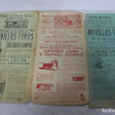 Carteles Toros: LOTE 3 CARTELES TAURINOS 1910-12 DE SEVILLA.. Lote 158779366