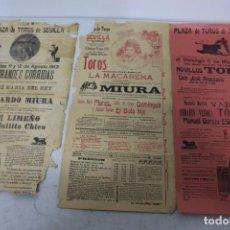 Carteles Toros: LOTE 3 CARTELES TAURINOS 1910-12 DE SEVILLA. TIENEN ROTURAS. Lote 158779506