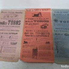 Carteles Toros: LOTE 3 CARTELES TAURINOS 1910-12 DE SEVILLA. . Lote 158779698
