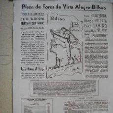 Cartazes Touros: CARTEL DE TOROS EN TELA, PLAZA DE VISTA ALEGRE BILBAO, VIERNES, 3 DE JULIO DE 1970 44CM X 29CM. Lote 159144502