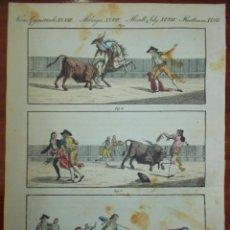 Carteles Toros: GRABADO CA. AÑO 1790. TAUROMAQUIA. PICADOR, BANDERILLERO Y MATADOR. ORIGINAL TOROS. Lote 159483050