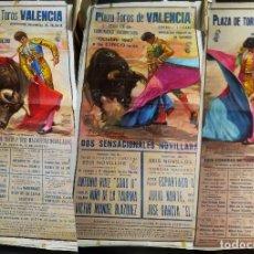 Carteles Toros: LOTE 3 CARTELESTAURINOS -PLAZA TOROS VALENCIA - AÑO1987- ILUSTRA:MARTÌ FONTS Y J-CROS ESTREMS 105X55. Lote 160052026