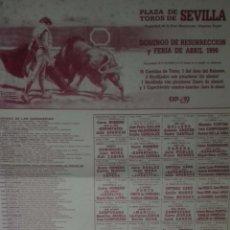 Carteles Toros: CARTEL. PLAZA TOROS DE SEVILLA. FERIA DE ABRIL 1990. LEER.. Lote 160760162
