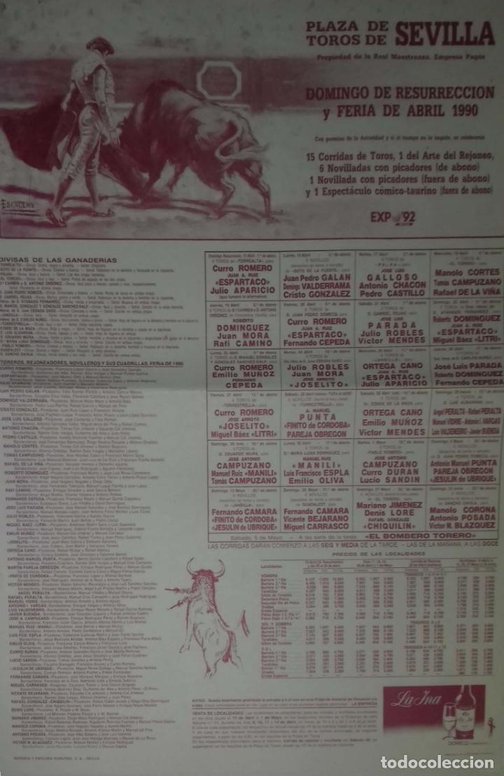 CARTEL. PLAZA TOROS DE SEVILLA. FERIA DE ABRIL 1990. LEER. (Coleccionismo - Carteles Gran Formato - Carteles Toros)