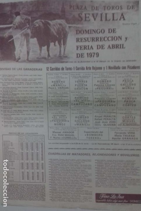 CARTEL. PLAZA TOROS DE SEVILLA. FERIA DE ABRIL. DOMINGO DE RESURRECCION. 1979. LEER. (Coleccionismo - Carteles Gran Formato - Carteles Toros)