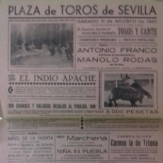 Carteles Toros: CARTEL. PLAZA TOROS DE SEVILLA. ESPECTACULO FOLKLORICO TAURINO. 1951. LEER.. Lote 160761210