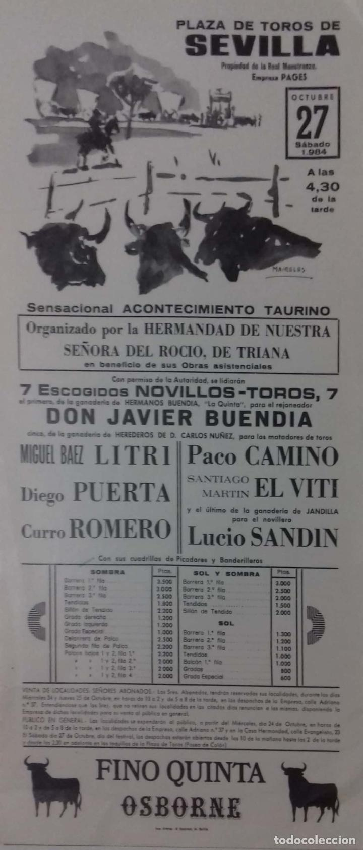 CARTEL. PLAZA TOROS DE SEVILLA. 1984. LEER. (Coleccionismo - Carteles Gran Formato - Carteles Toros)