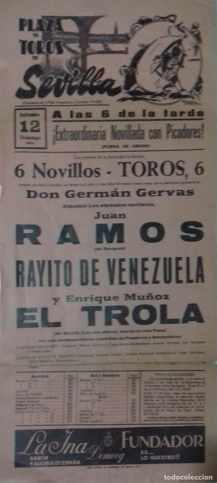 CARTEL. PLAZA TOROS DE SEVILLA. 1976. LEER. (Coleccionismo - Carteles Gran Formato - Carteles Toros)