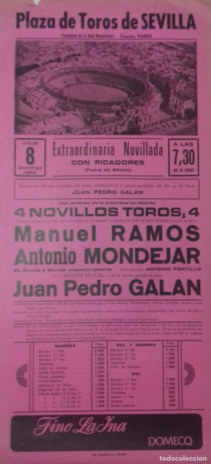 CARTEL. PLAZA TOROS DE SEVILLA.1984. LEER. (Coleccionismo - Carteles Gran Formato - Carteles Toros)