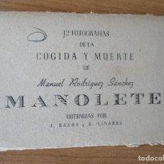 Carteles Toros: 12 FOTOGRAFIAS DE LA COGIDA Y MUERTE DE MANOLETE. Lote 160860850