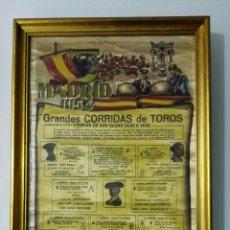 Carteles Toros: GRANDES CORRIDAS DE TOROS, CARTEL DE SEDA ENMARCADO, MADRID MAYO 1954, FERIA SAN ISIDRO, 9 CORRIDAS. Lote 161478730
