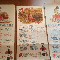 Carteles Toros: 22 CARTELES DE TOROS DIFERENTES CIUDADES, TELA CON PAPEL AL DORSO DE GONZALEZ BYASS, NUEVOS. Lote 162036134