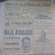 Carteles Toros: CARTEL TOROS Y FIESTAS DE HIGUERA DE LA SIERRA ( HUELVA ) 1949. Lote 162299406