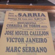 Carteles Toros: FOTO VÍCTOR JANEIRO FOTO CARTEL SARRIA LUGO.2012. Lote 162350153