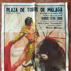 Carteles Toros: CARTEL PLAZA DE TOROS DE MALAGA 21 ENERO 1973. Lote 162381674