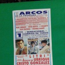 Carteles Toros: CARTEL DE TOROS, MEDIDAS 44X21 CM. APROX.. Lote 162384822