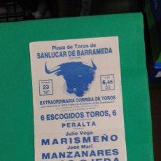 Carteles Toros: CARTEL DE TOROS, MEDIDAS 44X21 CM. APROX.. Lote 162385054