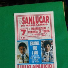 Carteles Toros: CARTEL DE TOROS, MEDIDAS 44X21 CM. APROX.. Lote 162385314