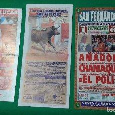 Carteles Toros: LOTE 3 CARTELES VARIADOS DE TOROS MEDIDAS 34X16 CM APROX.. Lote 162393242