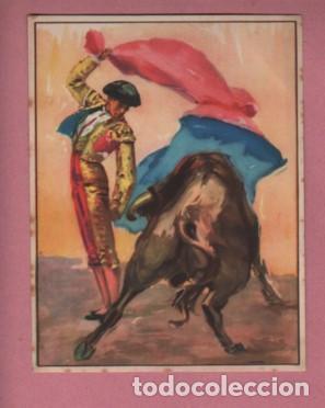 CARTEL DE TOROS - 16X13 PAPEL GRUESO - RUANO LLOPIS ? TORERO DANDO UN PASE (Coleccionismo - Carteles Gran Formato - Carteles Toros)