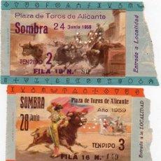 Carteles Toros: 3 ENTRADAS PLAZA TOROS DE ALICANTE,1959, 24 ,28 Y 29 DE JUNIO,. Lote 165016398