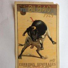 Carteles Toros: CARTEL TOROS BILBAO 1949. Lote 165027354