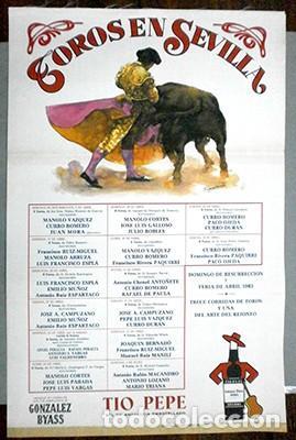 CARTEL DE TOROS EN SEDA - SEVILLA, FERIA DE ABRIL 1983 - CARTELTOROS-025 ,2 (Coleccionismo - Carteles Gran Formato - Carteles Toros)