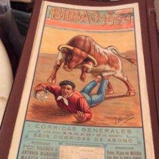 Carteles Toros: BILBAO 1929--CARTEL ORIGINAL DE TOROS DE LA PLAZA DE BILBAO AÑO DE 1929.MEDIDA 43X21 CM R. Lote 166049278
