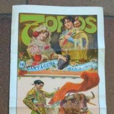 Carteles Toros: CARTEL ANTIGUO TOROS EN CARTAGENA 1915 DUQUE DE TOVAR. GALLO Y GALLITO. RUANO LLOPIS. Lote 166761790