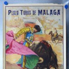 Carteles Toros: CARTEL TOROS MALAGA - VAZQUEZ, LUIS MIGUEL DOMINGUIN, EL CHONI - AÑO 1947 - LITOGRAFIA J. REUS. Lote 167089116