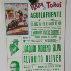 Affiches Tauromachie: ANDRES CABALLERO.EL FUNDI.JUAN CARLOS SAAVEDRA.J.MORENO SILVA.PLAZA DE TOROS DE AGUILAFUENTE.1989.. Lote 215673972