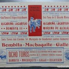 Carteles Toros: CARTEL DE ABONO TOROS VALENCIA - FERIA DE JULIO DE 1908, BOMBITA, MACHAQUITO, GALLO, LAGARTIJO. Lote 167826108