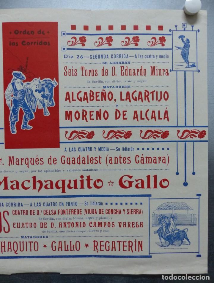 Carteles Toros: CARTEL DE ABONO TOROS VALENCIA - FERIA DE JULIO DE 1908, BOMBITA, MACHAQUITO, GALLO, LAGARTIJO - Foto 3 - 167826108